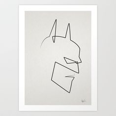 One minute, one line, one hero  Art Print by quibe - $19.76 Line Drawing Tattoos, One Line Tattoo, Single Line Tattoo, Single Line Drawing, Continuous Line Drawing, Line Tattoos, Batman Tattoo, Line Illustration, Hero Arts