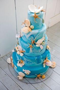 Blue Beach Wedding Cakes www.loveitsomuch.com