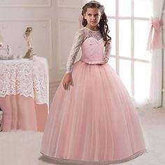 Wholesale Children Dress Girl Lace Long Sleeve Dress Children Dress Flower Girl Wedding Dress from Our website with high quality and fast shipping worldwide. Girls Dresses Online, Party Dresses Online, Dresses For Teens, Dress Flower, Flower Girl Dresses, Princess Dresses, Maxi Dress With Sleeves, Lace Dress, Gown Dress