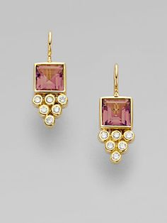 Clair Pink Tourmaline Diamond & Gold Earrings - November 09 2019 at Pink Bling, Gold Jewellery Design, Gold Jewelry, Jewellery Box, Tourmaline Jewelry, Pink Tourmaline, 18k Gold Earrings, Lace Earrings, Make Jewelry