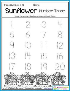 Trace numbers 1-20 in this fall worksheet. Great counting by tens practice, too. :)