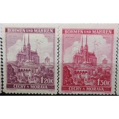 Bohemia and Moravia, Brunn City scene, set of 2 stamps 1939 mint City Scene, Moldova, Hindu Art, Rare Coins, Antique Shops, Southeast Asia, Buddha, Stamps, Germany