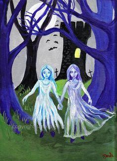 Halloween horror art Ghost Sisters of the Tower by ArtBySarada