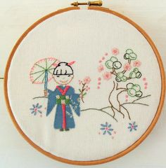 Cherry Blossom Time Hand Embroidery downloadable pattern