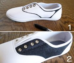 Perfect for costume - Faux Saddle Shoes Tutorial! Sock Hop Outfits, 50s Outfits, Rave Outfits, Disfraz Rock And Roll, Halloween Kostüm, Halloween Costumes, Vampire Costumes, Sock Hop Costumes, Nerd Costumes
