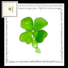 "Nice framed ""4 leaf clover"" sea glass art. With an Irish Blessing round the edge"