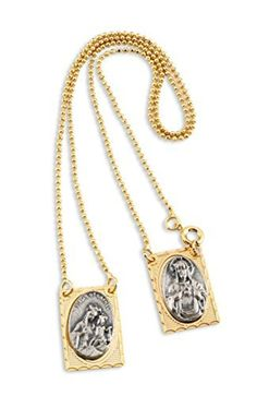 Gold Plated Scapular Including Silver Tone Engraved Medals and 11.5 Inch Necklace by Catholica Shop -- Awesome products selected by Anna Churchill