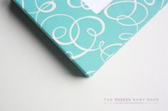 Free Shipping MODERN Baby Book // Blue Swirls by OurStoryPaperCo