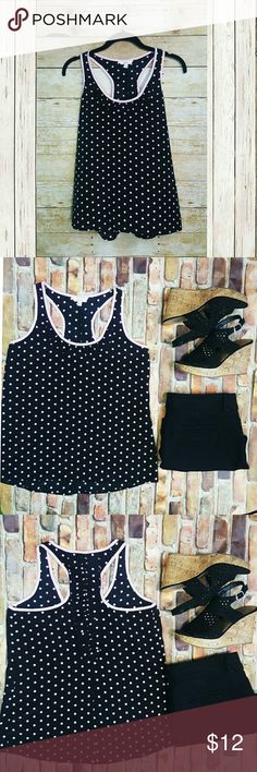 Candie's Black with Pink Polka Dots Racerback Tank Candies's Black with Pink Polka Dots RacerbackTank   100% Polyester Candie's Tops Tank Tops