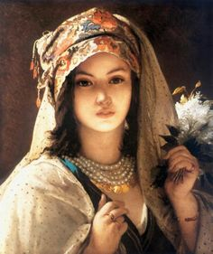 Turkish Girl with a White Pearl by Jan Frans Portaels: Lilas blanc, 1818 – 1895