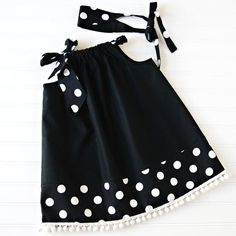 Classic Beauty Black and White Pillowcase Dress by AliBeanBaby, Toddler Dress, Baby Dress, Little Girl Fashion, Kids Fashion, Girls Dresses Sewing, Girls Blouse, Little Girl Dresses, Classic Beauty, Baby Sewing