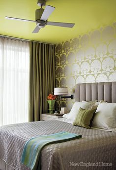 Silk drapes, foil wall covering and a chartreuse ceiling bring glamour to the bedroom. Just Dream, My Dream Home, Bedroom Colors, Bedroom Decor, Bedroom Ideas, New England Homes, New Homes, Silk Drapes, House And Home Magazine