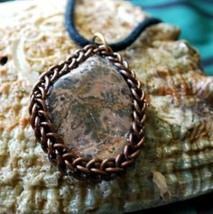 Leopard Skin Agate Pendant Wrapped in Chainmail by GeekyGaeaDesigns on Etsy