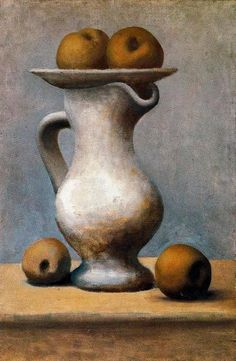 Still Life with Pitcher and Apples, Picasso http://almawinemiller.tumblr.com/post/25849907269/oilpaintinggallery-still-life-with-pitcher-and