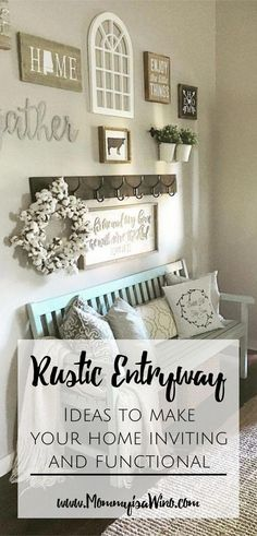 Rustic Entryway Ideas to Make Your Home Inviting and Functional - How to use your rustic decor to make an organized entryway A well decorated entryway sets the tone for your entire home. Decorate your rustic entryway to be a functional part of your home. Funky Home Decor, Easy Home Decor, Vintage Home Decor, Cheap Home Decor, Cheap Rustic Decor, Vintage Homes, Rustic Crafts, Entryway Organization, Organized Entryway