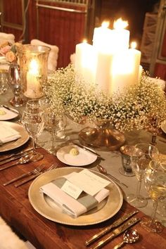 Wedding Inspirations, Wedding Centerpieces, Vintage Table Setting, Vintage Centerpieces, Babys breath, Rustic decor, candles, silver chargers by jasmine