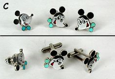 sterling silver stone inlay Zuni Mickey Mouse cufflinks