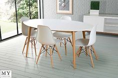 Dining-table-retro-solid-oak-lacquered-white-Round-Oval-Rectangle-4-Eames-chairs