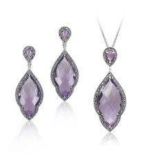MARC Sterling Silver Amethyst Marcasite Earrings & Necklaces