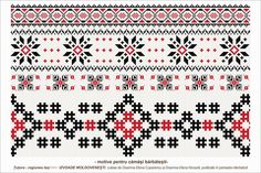Semne Cusute: Romanian traditional motifs Folk Embroidery, Cross Stitch Embroidery, Embroidery Patterns, Cross Stitch Patterns, Knitting Patterns, Moldova, Hobbies And Crafts, Beading Patterns, Weaving
