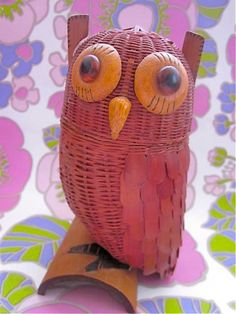 Vintage 1970s Wicker Owl On Branch Container by Pommedejour, $26.00