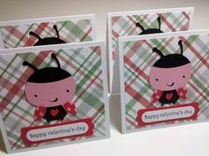 Set of 4 Mini Lady Bug Valentine's Day Cards by debkcreations