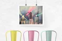 Girl at the Rock Show - Blink-182 Print, 90s Art, 90s kid, 90s home decor, music print, concert print