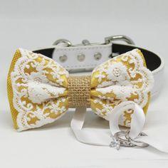 Yellow Lace and Burlap Dog ring bearer, Rustic wedding, Bohemian, Proposal idea Yellow Accessories, Wedding Accessories, Yellow Lace, Color Yellow, Color Black, Dog Wedding, Rustic Wedding, Wedding Ideas, Bow Tie Collar