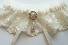 Wedding Garter with Satin Ribbon Bow Topped by Pearl and Crystal Detail - The MEREDITH Garter