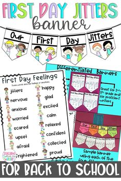 This First Day Jitters and Book Companion bulletin board banner and activity can be used alongside the book First Day Jitters by Julie Dannenberg. Perfect for Back to School and First Day of School activities, this resource is in both printable and digital forms for distance learning. #FirstDayJitters #BulletinBoardIdeas #BacktoSchool First Day Of School Activities, School Resources, Fun Activities, First Day Jitters, Writing Portfolio, Back To School Night, Social Emotional Learning, Feelings And Emotions, Board Ideas