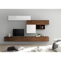 Lcd Panel Design, Tv Wand, Living Room Tv, Scandinavian Style, Floating Shelves, New Homes, The Unit, Interior, Wall