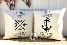 Be The One To Guide Me But Never Hold Me Down Pillow Case Set – White Rabbit Vinyl | #decor #home #nautical #ocean #sea #beach #spring #summer #pillowcase #love #anchor #quote