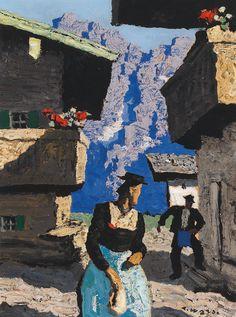 Alfons Walde (Austrian, In Tirol, Oil on cardboard, 38 x cm New Objectivity, Interwar Period, Mountain Paintings, Shelter, Modern Art, Germany, Scene, Landscape, Drawing