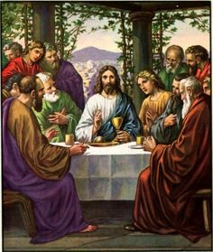 Biblical: The Last Supper is spoken about in the synoptic gospels; Matthew, Mark and Luke. Paul the Apostle is the first one to provide a description of the Last Supper, where communion was first celebrated. {Transubstantiation}