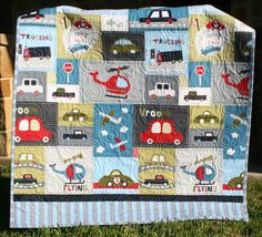 Car Quilt Baby Boy Toddler Bedding Vehicles Trucks Cars Airplanes ...