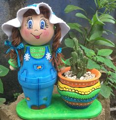 La panchita garden clay pot crafts, clay flower pots и paint Clay Pot Projects, Clay Pot Crafts, Diy Clay, Crafts To Do, Diy Projects, Flower Pot Art, Clay Flower Pots, Flower Pot Crafts, Flower Pot People