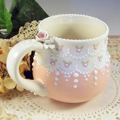 Whimsical Bliss Studios - Baker of Fine Ceramic Confections Chocolate Cafe, Coffee Cups, Tea Cups, Estilo Shabby Chic, Shades Of Peach, Afternoon Tea Parties, Teapots And Cups, Just Peachy, Cute Mugs
