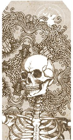 Halloween Vintage Embellished Skull Tags Spooky Digital Download. $3.75, via Etsy.