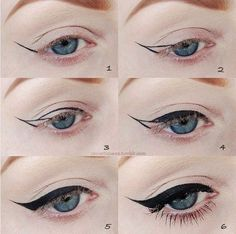 Amazing winged cat-eye on blue eyes. Get your makeup at Beauty.com.