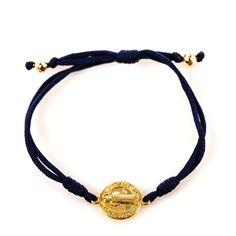 My Saint My Hero | Serenity Blessing Bracelet – Gold Medal on Navy Cord