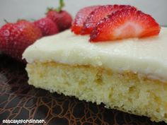 Grammy's White Sheet Cake - This looks so yummy!  Will have to make it - love the strawberries on the top.