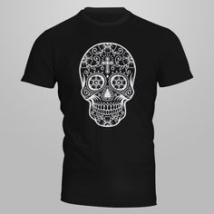 Sugarskull-Heavy Cotton Classic Fit Adult T-Shirt-silkscreen by AceCustomsSilkscreen on Etsy