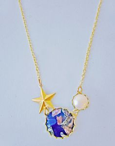 Orbit Earth and Moon Necklace — Eclectic Eccentricity Vintage Jewellery