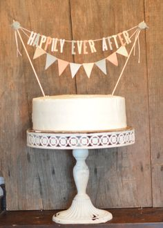 HAPPILY EVER AFTER  Bunting Pennant Cake Topper
