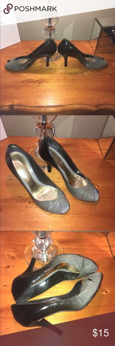 Antonio Melani Vanish Heels Patent leather two tone peep toe heels with cutout design.   Front is gray with back black.  Last two pictures show where shoes has a slight tear which is unnoticeable on. ANTONIO MELANI Shoes Heels