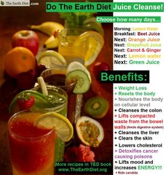 The Earth Diet Juice Cleanse...this sounds lovely and easier than some as you don't have a bunch of different fruits and veggies to prep for most of them.