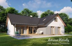 Projekt domu Klimek 2 135.62 m² - Domowe Klimaty Bungalow House Plans, House Blueprints, House Entrance, Ground Floor, House Design, Cabin, Flooring, Bungalows, How To Plan