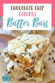 Chocolate Chip Caramel Butter Bars are a combination of sugar cookies, chocolate chip cookies and gooey caramel. Such a yummy recipe! Easy No Bake Desserts, Homemade Desserts, Delicious Desserts, Dessert Recipes, Yummy Food, Chip Cookies, Sugar Cookies, Homemade Snickers, How Sweet Eats
