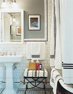 Boy bath--black pinstripe, grey wall