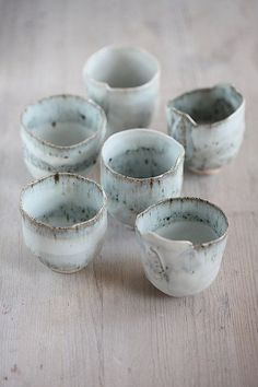 6 Hand built stoneware and Porcelain 4 oz cup with blue glaze